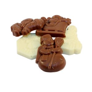 milk and white chocolate christmas shapes