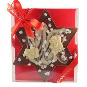CHOCOLATE STAR SHAPED SLAB WITH CHRISTMAS DECO IN A BOX