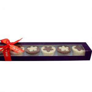 chocolate snowflake cups in purple box