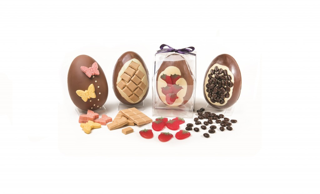 chocolate easter eggs with decoration