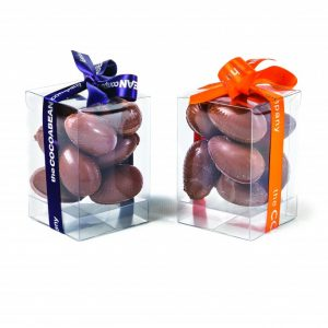 praline chocolate eggs in a cube