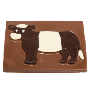 milk chocolate slab with dark and white chocolate belted galloway design