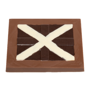 milk chocolate slab with dark and white chocolate saltire design