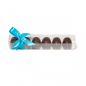 cellphane box with dark chocolate barrels and blue ribbon