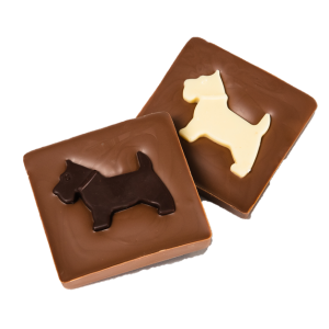 milk chocolate slab with white and dark chocolate scottie dogs