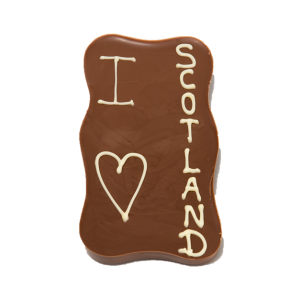 wavy milk chocolate slab with white chocolate message I heart scotland