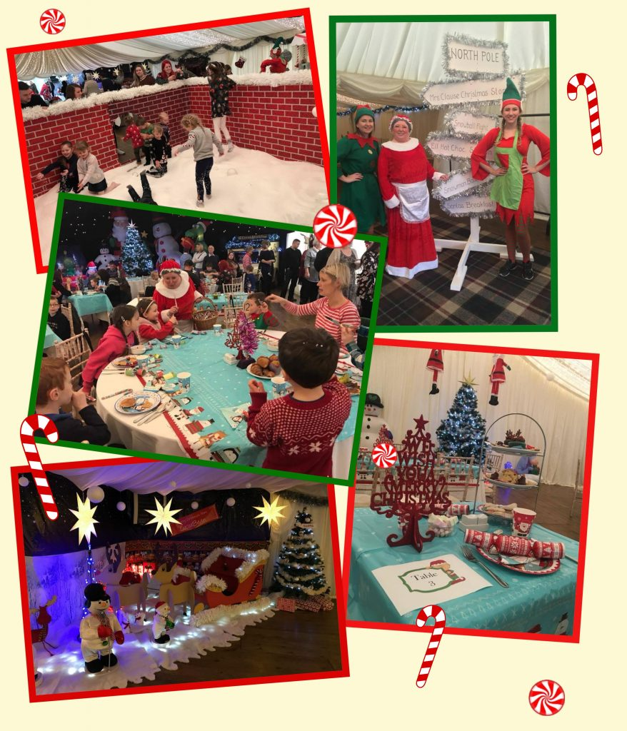 collage of breakfast with santa images and candy cane decorations