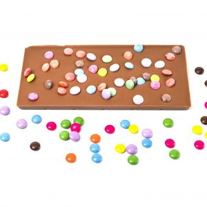 milk choc bar with mini candy bean decoration