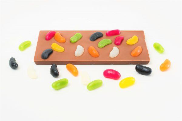 milk choc bar with mini jelly bean decoration