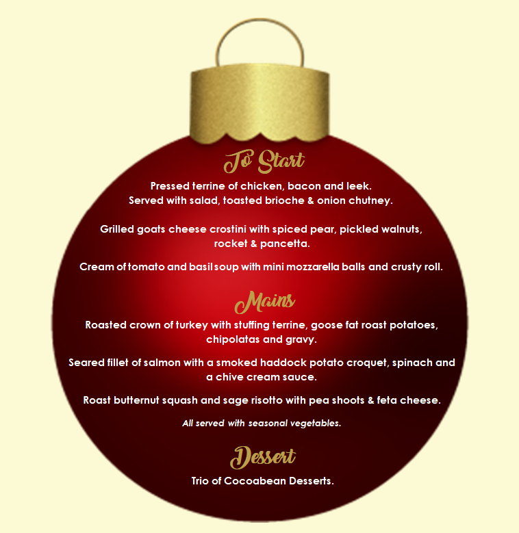 red Christmas bauble with party night menu enclosed
