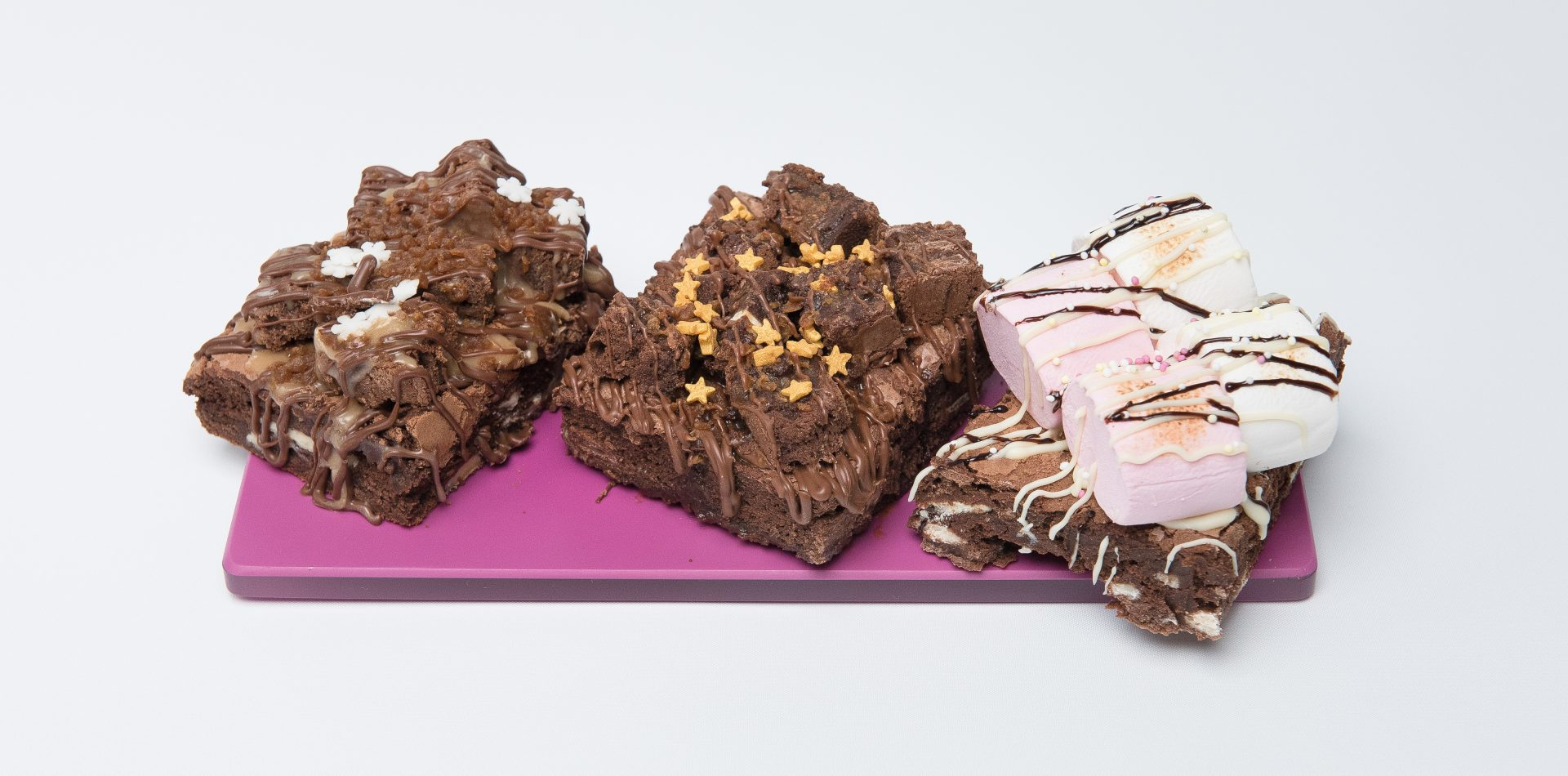 brownie tray bakes on purple tray
