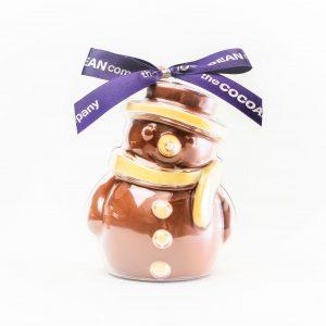 chocolate filled snowman shape