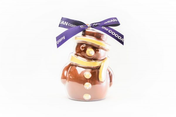 chocolate filled snowman shape
