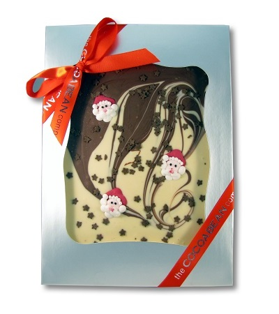 chocolate slab with christmas decoration