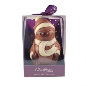 milk chocolate snowman in box with ribbon