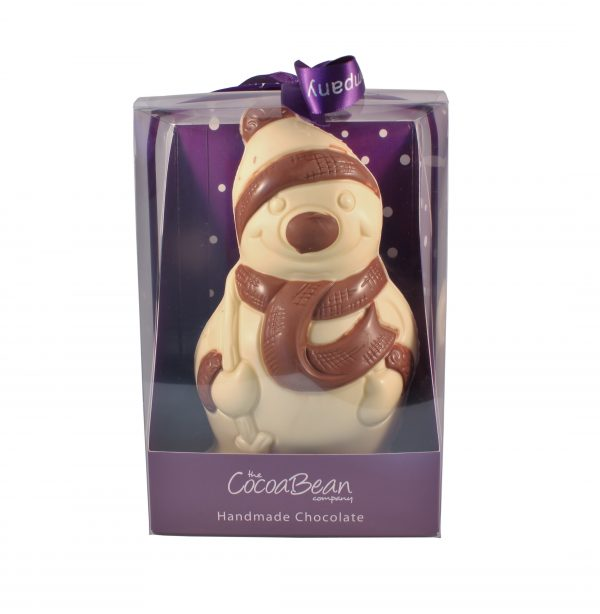 white chocolate snowman in box with ribbon