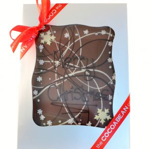 "mixed chocolate slab with ""merry christmas"" message"