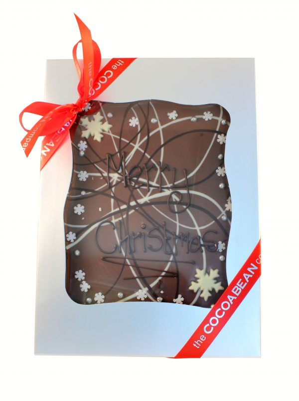 """mixed chocolate slab with """"merry christmas"""" message"""
