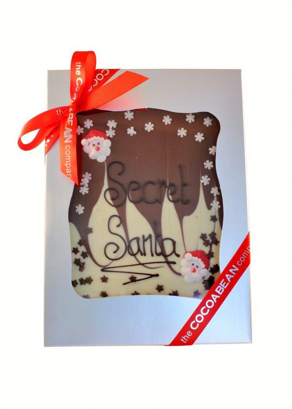 "mixed chocolate slab with ""secret santa"" message"