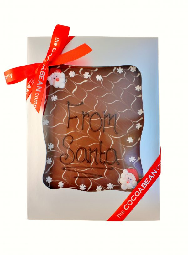 "mixed chocolate slab with ""from santa"" message"