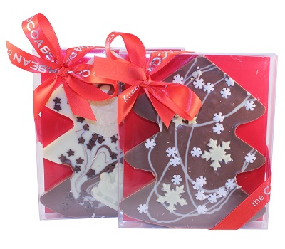 CHOCOLATE TREE SHAPED SLAB WITH CHRISTMAS DECO IN A BOX