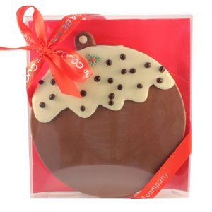 CHOCOLATE CHRISTMAS PUDDING SHAPED SLAB IN A BOX