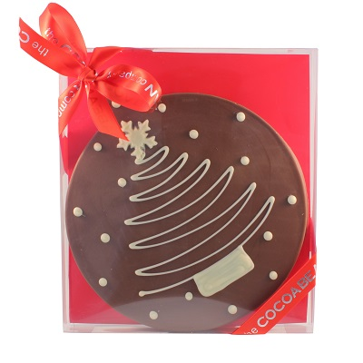 CHOCOLATE DISC SLAB WITH CHRISTMAS DECO IN A BOX