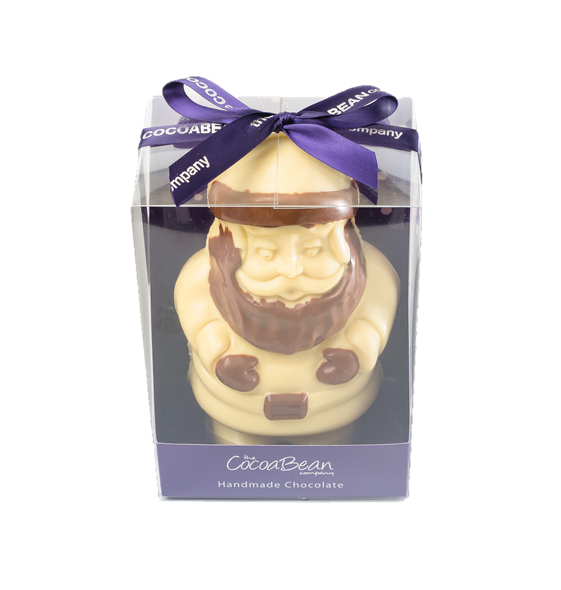 white chocolate santa in a box with red ribbon