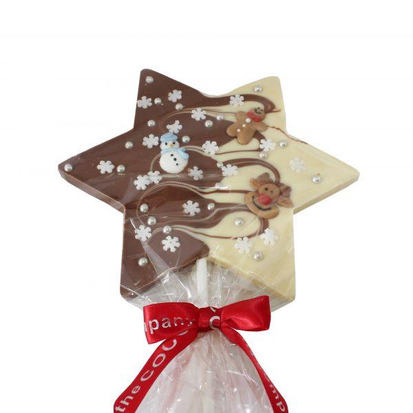choc star lollipop with christmas deco