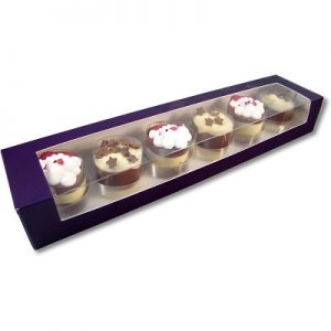 christmas themed chocolate cylinders in a purple box