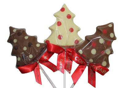 three tree shaped chocolate lollipops