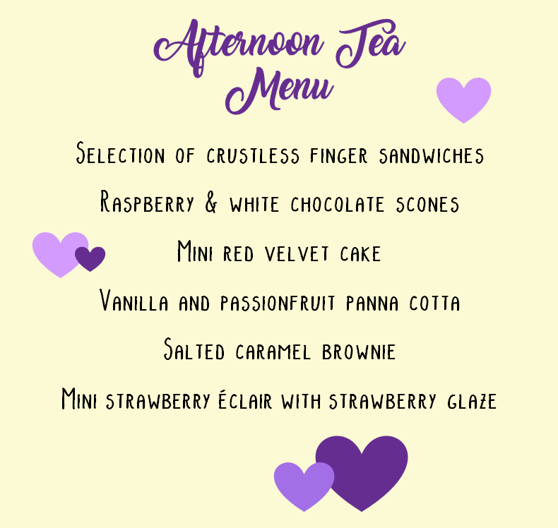 afternoon tea valentines menu purple hearts