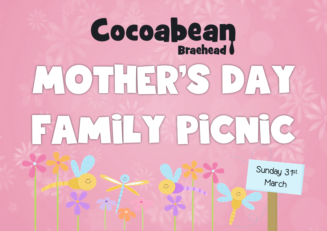 cocoabean mother's day family picnic pink background