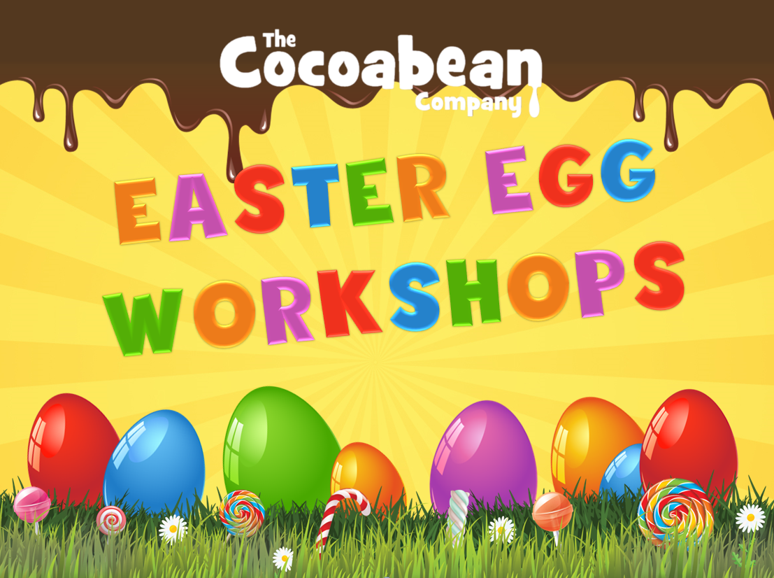 yellow background, colourful text easter egg workshops
