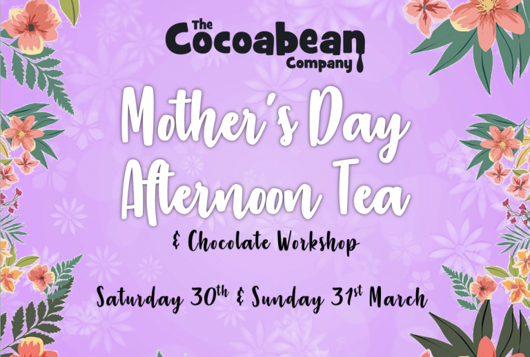 purple background, floral border, mother's day afternoon tea header