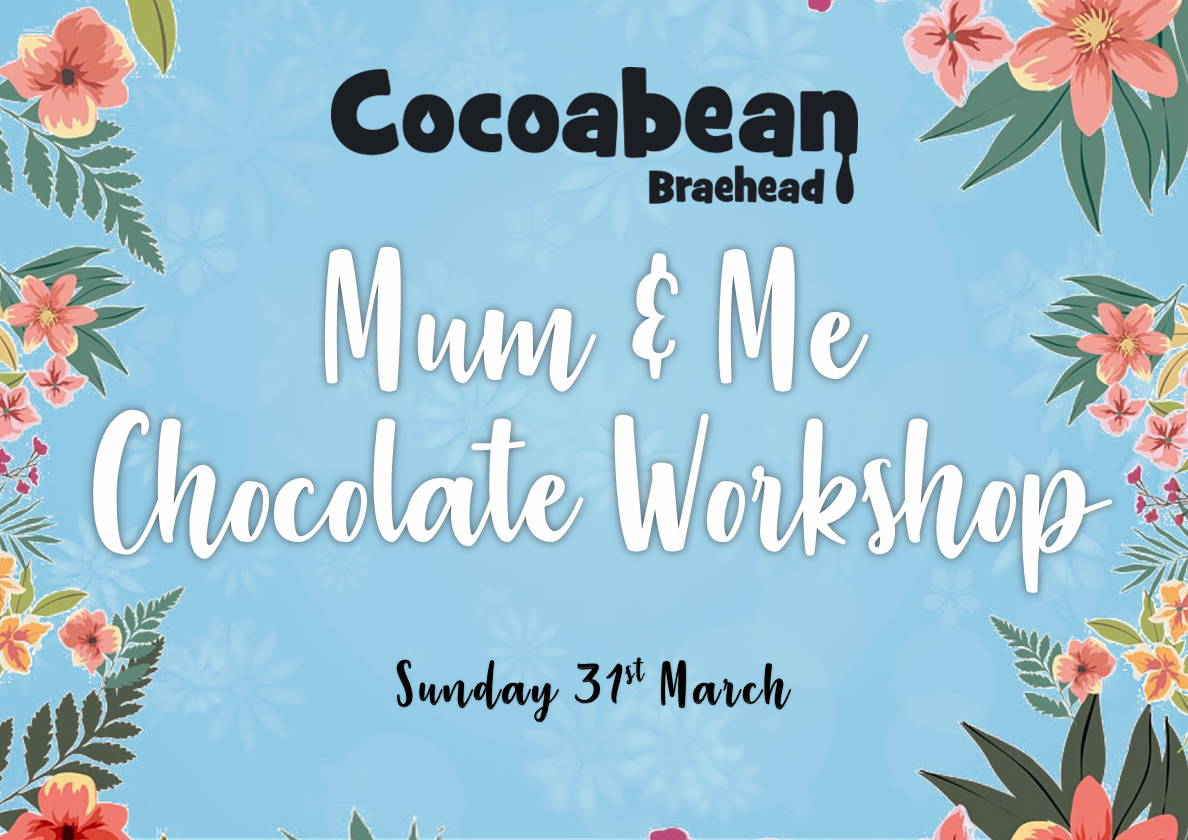 cocoabean braehead mum & me chocolate workshop blue background and flowers