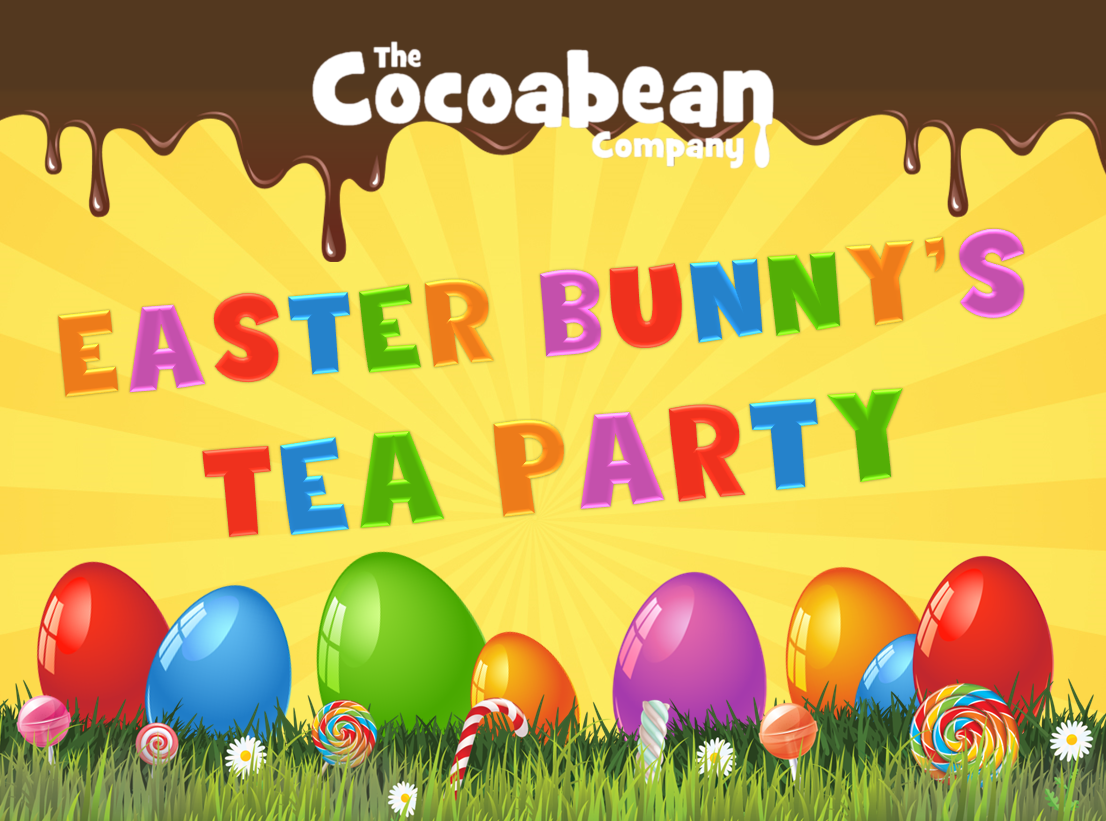 yellow background, colourful text easter bunny tea party