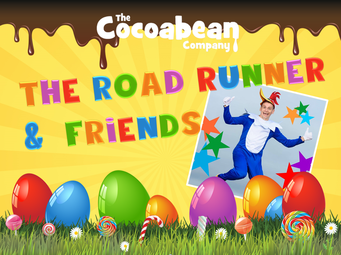 yellow background, colourful text road runner and friends