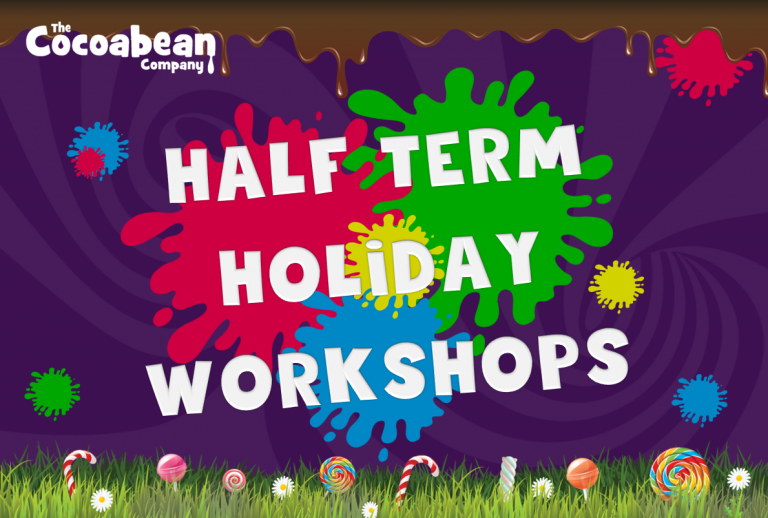 half term holidya workshops rainbow plats and purple background