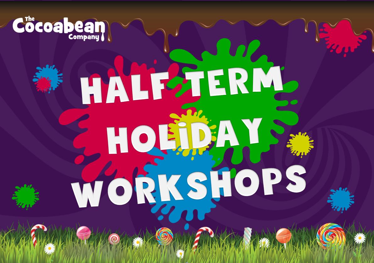 half term holidya workshops rainbow plats and purple background