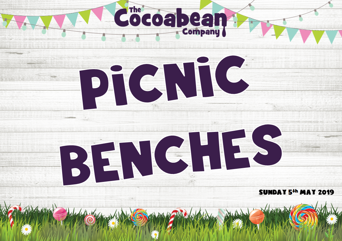 picnic bench text with grass and bunting border