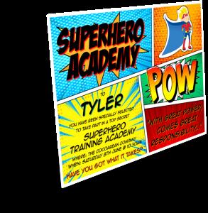 superhero academy invite 3d with shadow