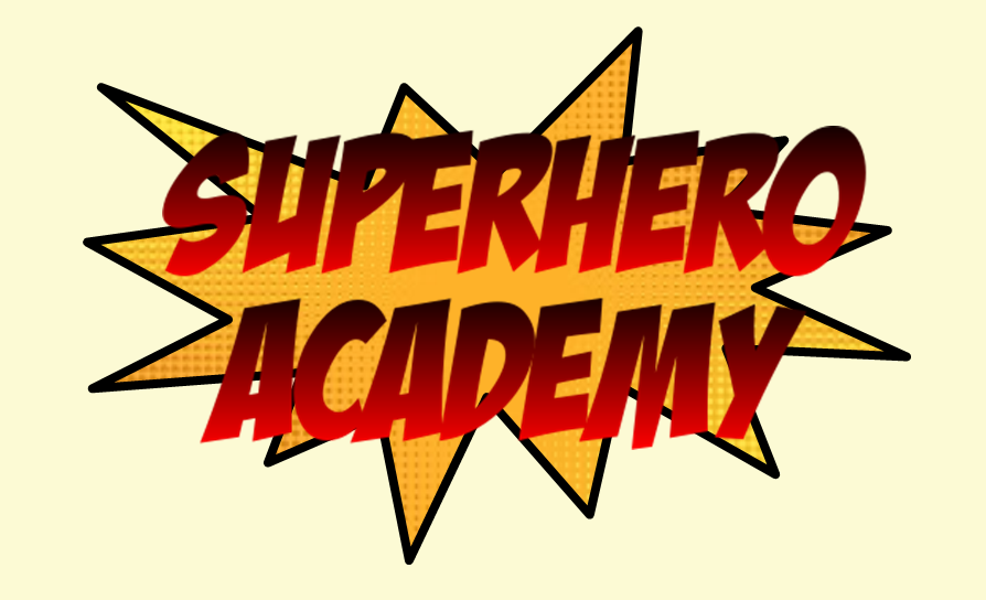 yellow star bubble with super hero academy text