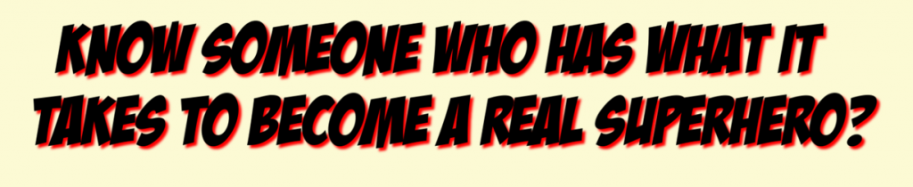 black and red text superhero