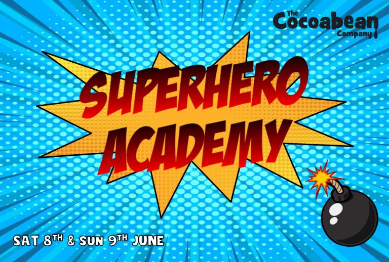 art pop style blue background superhero academy cocoabean company