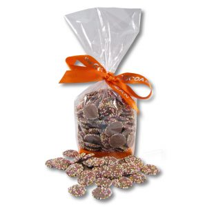 cello bag with milk jazzies and an orange ribbon