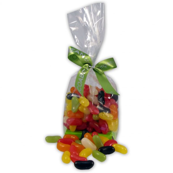 colourful jelly beans in a cello bag and ribbon
