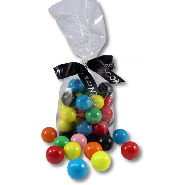 multi-coloured gobstoppers in a cello bag with ribbon