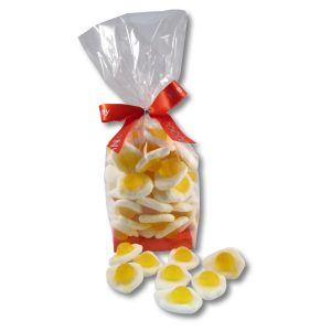 fried egg jellies in a cello bag with ribbon