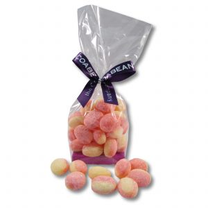 rhubarb & custard sweets in cello bag with ribbon